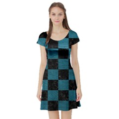 SQUARE1 BLACK MARBLE & TEAL LEATHER Short Sleeve Skater Dress