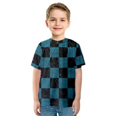 SQUARE1 BLACK MARBLE & TEAL LEATHER Kids  Sport Mesh Tee