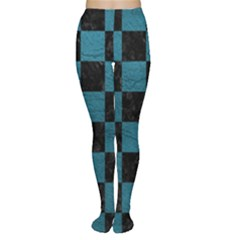 SQUARE1 BLACK MARBLE & TEAL LEATHER Women s Tights