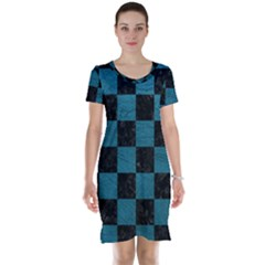 SQUARE1 BLACK MARBLE & TEAL LEATHER Short Sleeve Nightdress