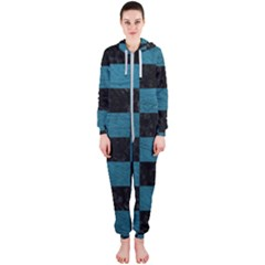 SQUARE1 BLACK MARBLE & TEAL LEATHER Hooded Jumpsuit (Ladies)
