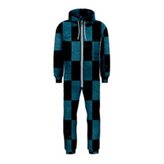 SQUARE1 BLACK MARBLE & TEAL LEATHER Hooded Jumpsuit (Kids)