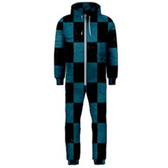 SQUARE1 BLACK MARBLE & TEAL LEATHER Hooded Jumpsuit (Men)