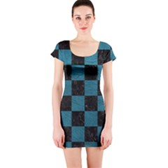 SQUARE1 BLACK MARBLE & TEAL LEATHER Short Sleeve Bodycon Dress