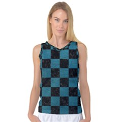 SQUARE1 BLACK MARBLE & TEAL LEATHER Women s Basketball Tank Top