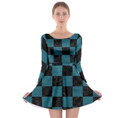 SQUARE1 BLACK MARBLE & TEAL LEATHER Long Sleeve Skater Dress