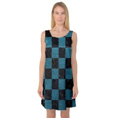 SQUARE1 BLACK MARBLE & TEAL LEATHER Sleeveless Satin Nightdress