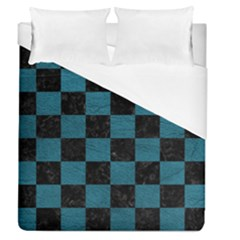 SQUARE1 BLACK MARBLE & TEAL LEATHER Duvet Cover (Queen Size)