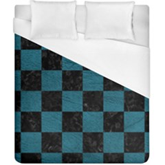 SQUARE1 BLACK MARBLE & TEAL LEATHER Duvet Cover (California King Size)