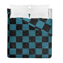 SQUARE1 BLACK MARBLE & TEAL LEATHER Duvet Cover Double Side (Full/ Double Size)