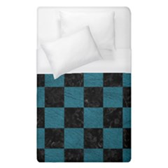 SQUARE1 BLACK MARBLE & TEAL LEATHER Duvet Cover (Single Size)