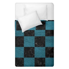 SQUARE1 BLACK MARBLE & TEAL LEATHER Duvet Cover Double Side (Single Size)