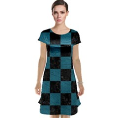 SQUARE1 BLACK MARBLE & TEAL LEATHER Cap Sleeve Nightdress