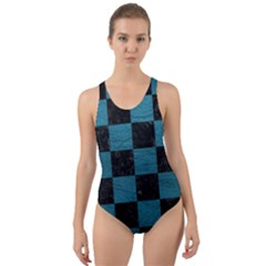 SQUARE1 BLACK MARBLE & TEAL LEATHER Cut-Out Back One Piece Swimsuit