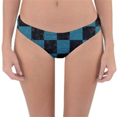 SQUARE1 BLACK MARBLE & TEAL LEATHER Reversible Hipster Bikini Bottoms