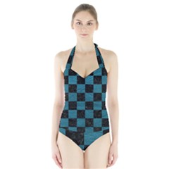 SQUARE1 BLACK MARBLE & TEAL LEATHER Halter Swimsuit