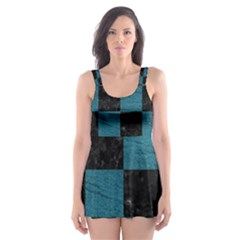 SQUARE1 BLACK MARBLE & TEAL LEATHER Skater Dress Swimsuit