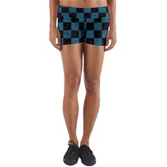 SQUARE1 BLACK MARBLE & TEAL LEATHER Yoga Shorts