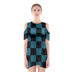 SQUARE1 BLACK MARBLE & TEAL LEATHER Shoulder Cutout One Piece