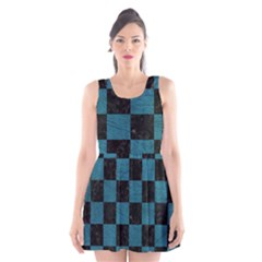 SQUARE1 BLACK MARBLE & TEAL LEATHER Scoop Neck Skater Dress