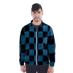 SQUARE1 BLACK MARBLE & TEAL LEATHER Wind Breaker (Men)