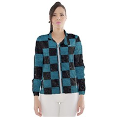 SQUARE1 BLACK MARBLE & TEAL LEATHER Wind Breaker (Women)