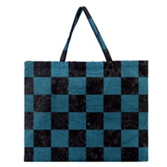 SQUARE1 BLACK MARBLE & TEAL LEATHER Zipper Large Tote Bag