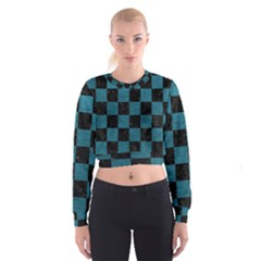 SQUARE1 BLACK MARBLE & TEAL LEATHER Cropped Sweatshirt
