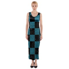 SQUARE1 BLACK MARBLE & TEAL LEATHER Fitted Maxi Dress