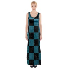SQUARE1 BLACK MARBLE & TEAL LEATHER Maxi Thigh Split Dress