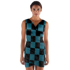 SQUARE1 BLACK MARBLE & TEAL LEATHER Wrap Front Bodycon Dress