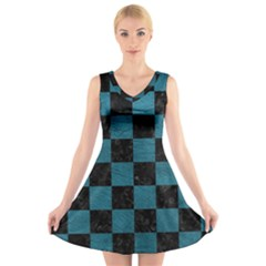 SQUARE1 BLACK MARBLE & TEAL LEATHER V-Neck Sleeveless Skater Dress
