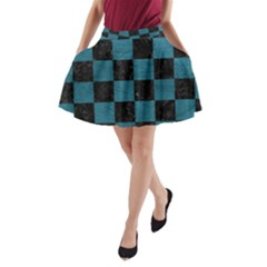 SQUARE1 BLACK MARBLE & TEAL LEATHER A-Line Pocket Skirt
