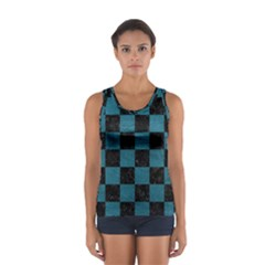 SQUARE1 BLACK MARBLE & TEAL LEATHER Sport Tank Top