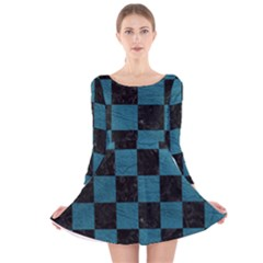 SQUARE1 BLACK MARBLE & TEAL LEATHER Long Sleeve Velvet Skater Dress