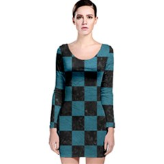 SQUARE1 BLACK MARBLE & TEAL LEATHER Long Sleeve Velvet Bodycon Dress