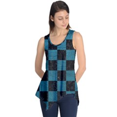SQUARE1 BLACK MARBLE & TEAL LEATHER Sleeveless Tunic