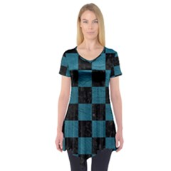 SQUARE1 BLACK MARBLE & TEAL LEATHER Short Sleeve Tunic