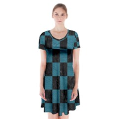SQUARE1 BLACK MARBLE & TEAL LEATHER Short Sleeve V-neck Flare Dress