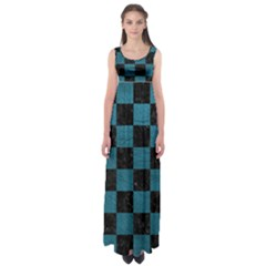 SQUARE1 BLACK MARBLE & TEAL LEATHER Empire Waist Maxi Dress