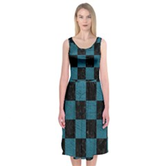 SQUARE1 BLACK MARBLE & TEAL LEATHER Midi Sleeveless Dress