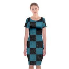 SQUARE1 BLACK MARBLE & TEAL LEATHER Classic Short Sleeve Midi Dress