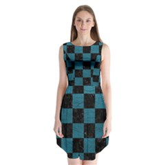 SQUARE1 BLACK MARBLE & TEAL LEATHER Sleeveless Chiffon Dress