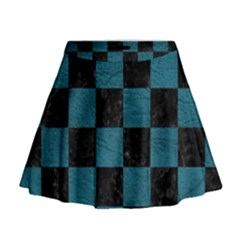 SQUARE1 BLACK MARBLE & TEAL LEATHER Mini Flare Skirt