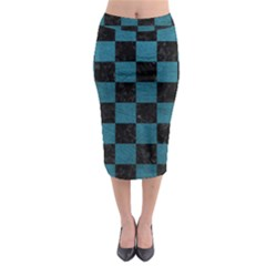 SQUARE1 BLACK MARBLE & TEAL LEATHER Midi Pencil Skirt