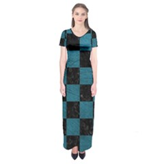 SQUARE1 BLACK MARBLE & TEAL LEATHER Short Sleeve Maxi Dress