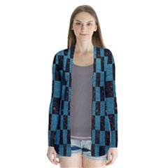 SQUARE1 BLACK MARBLE & TEAL LEATHER Drape Collar Cardigan