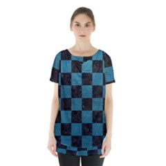 SQUARE1 BLACK MARBLE & TEAL LEATHER Skirt Hem Sports Top