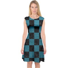 SQUARE1 BLACK MARBLE & TEAL LEATHER Capsleeve Midi Dress
