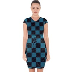 SQUARE1 BLACK MARBLE & TEAL LEATHER Capsleeve Drawstring Dress